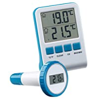 FreeTec Schwimmbadthermometer: Digitales Teich- und Poolthermometer mit LCD-Funk-Empfänger, IPX8 (Poolfunkthermometer)