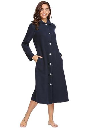 Vansop Soft Fleece Long Sleeve Button Front   Pockets Dressing Gown Robe 9dc4210bbc