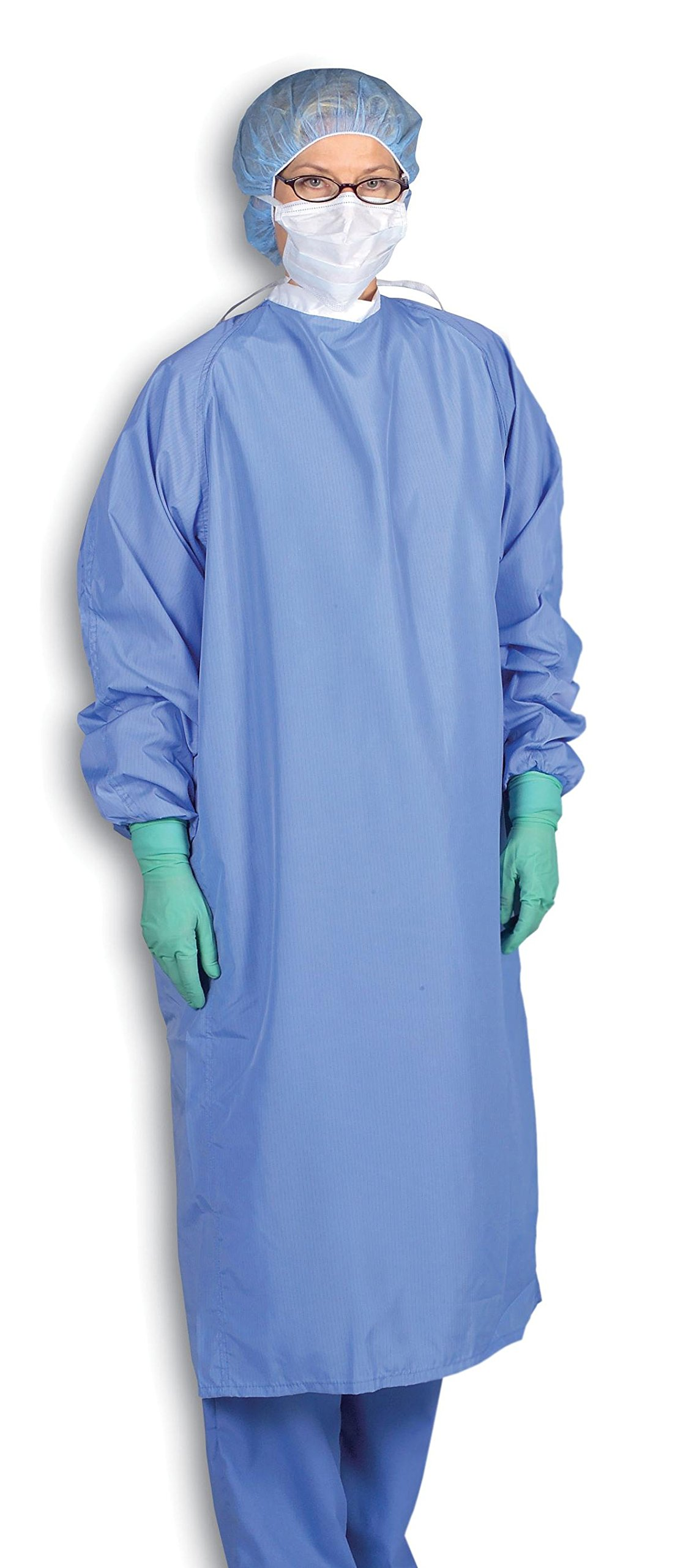 Medline MDT012080XL 1-Ply Blockade Surgeons Gown, Snap Neck and Tie Back, X-Large, Ceil Blue (Pack of 12)