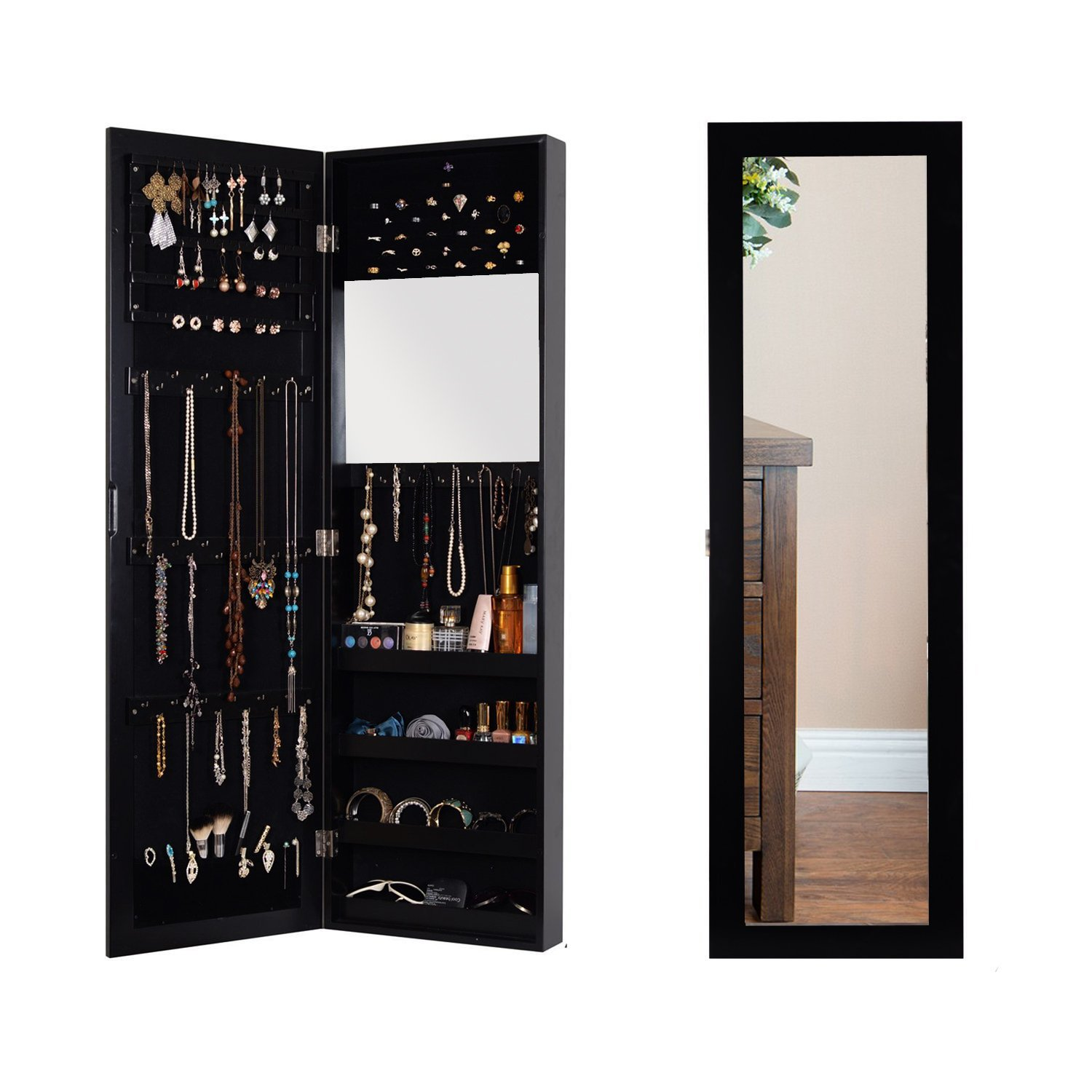 Organizedlife Black Wall Mounted Jewelry Armoire Cabinet with Mirror Furniture