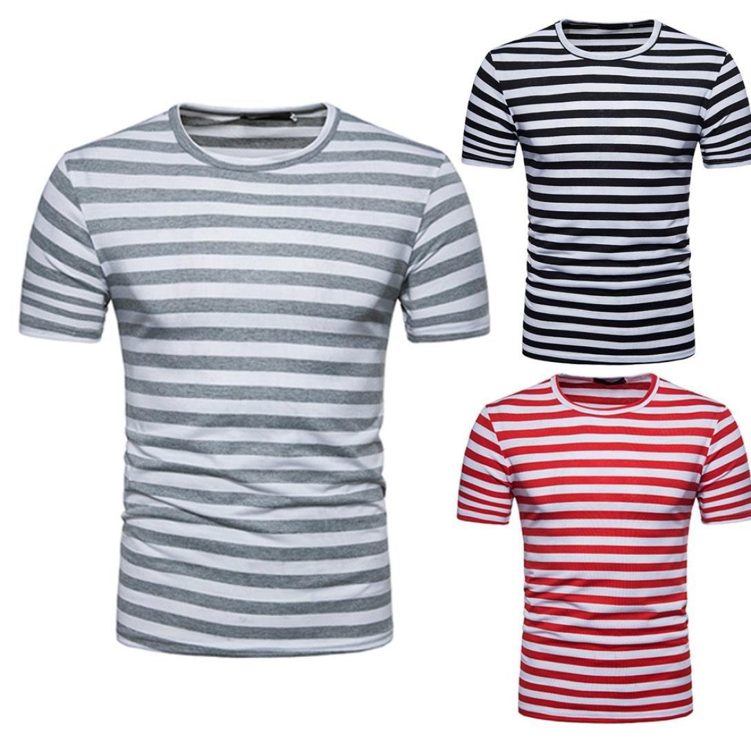 Pollover Camiseta Niños Tees Camiseta Térmica de Compresión Camiseta de Verano Para Hombre Casual Raya Jersey de Cuello Redondo Camiseta Blusa Tops 🌸 ...