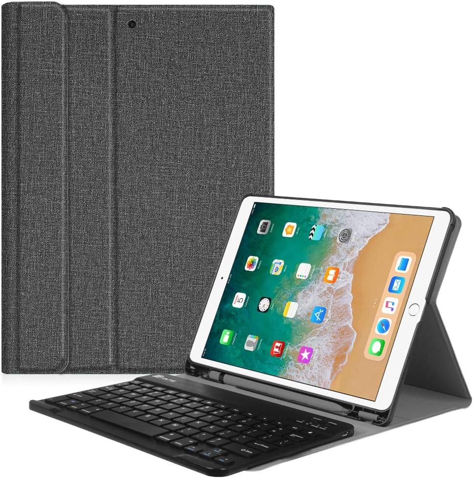 """iPad Air 2019(3rd Generation)/ iPad Pro 10.5""""2017用FINTIEキーボードケース - 内蔵鉛筆ホルダー付きSlimShell保護カバー磁気的に取り外し可能なワイヤレスBluetoothキーボード、グレー"""
