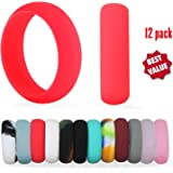 HOOPLE 12 Pack Silicone Wedding Ring, Premium Medical Grade Wedding-Bands, Outdoor Activities, Sports, Gym, Comfortable Fit & Skin Safe, Antibacterial For Women