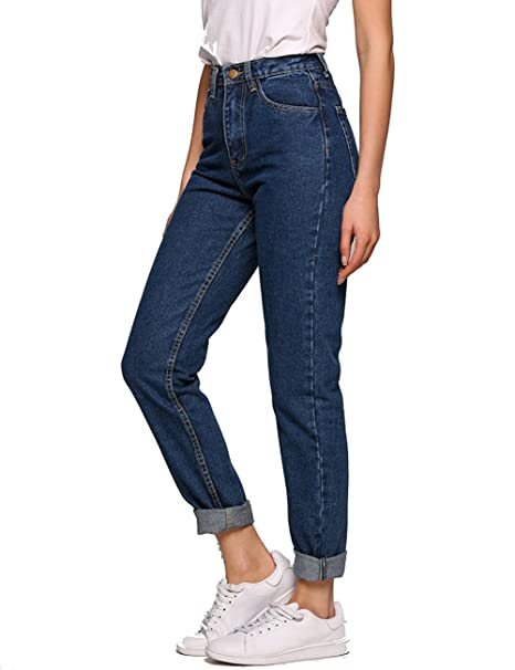 Evensleaves Women's Jeans, High Waist Solid Vintage Straight-Leg Denim Pants  (24(