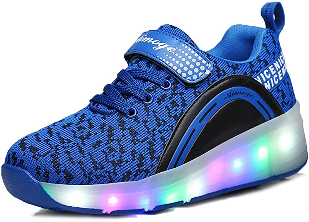 Hanglin Trade Boys Girls LED Light Up Shoes with Wheels Roller Sneakers Skate Shoes Blue 1wheel 4 M US Big Kid
