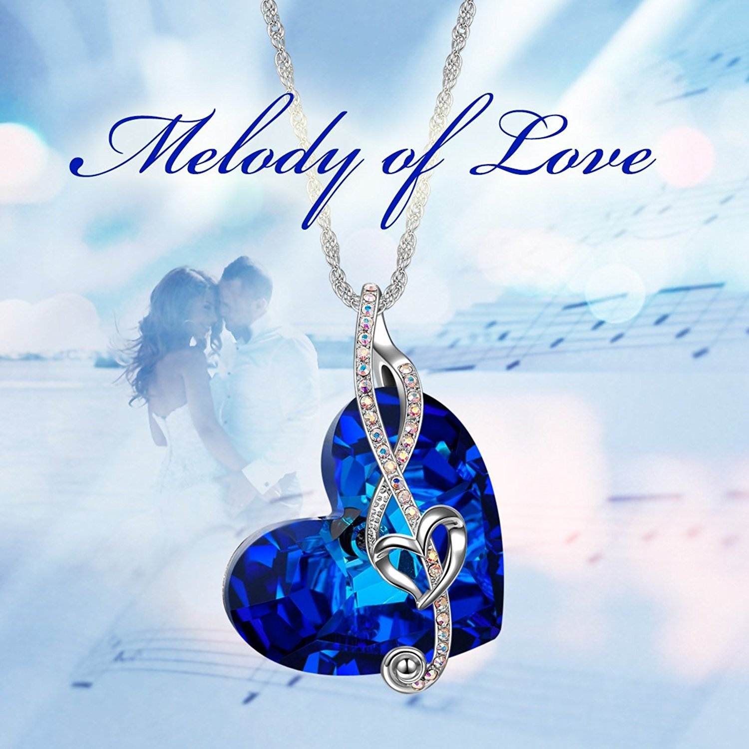 Brilla Valentines Day Gifts for Women Heart Of The Ocean Necklace Fashion Jewelry \