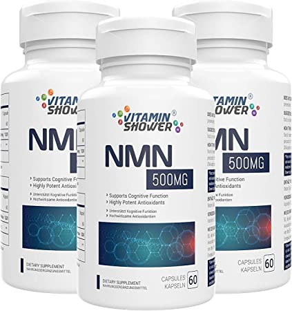 NMN Supplement Nicotinamide Mononucleotide | 500mg | 60 Capsules Per Bottle | NAD Boosters | Anti Aging Supplements for Cellular Repair & Energy (180 Capsules, Pack of 3)