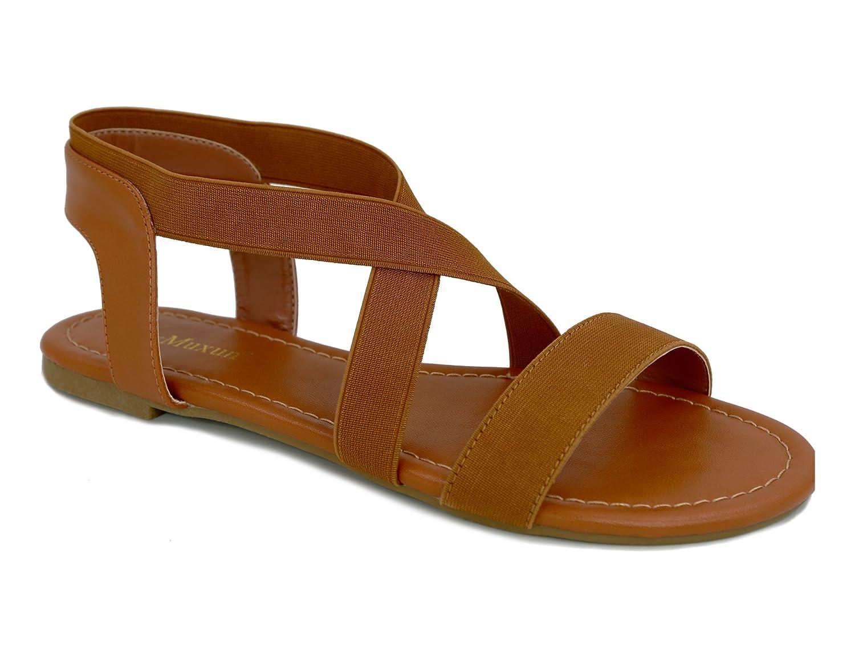 MaxMuxun Damen Elastischen Sommer Sandalen  40 EU|Braun