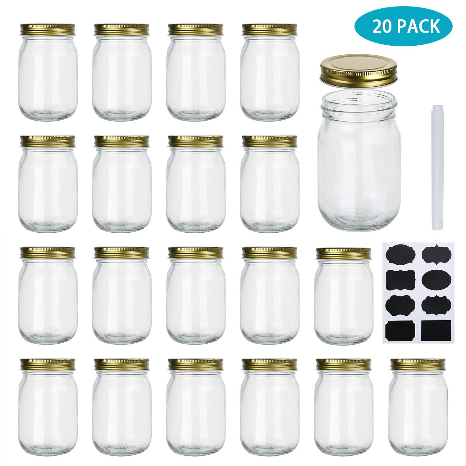 Encheng 12 oz Glass Jars With Lids,Ball Wide Mouth Mason Jars For Storage,Canning Jars For Caviar,Herb,Jelly,Jams,Honey,Dishware Safe,Set Of 20 ...