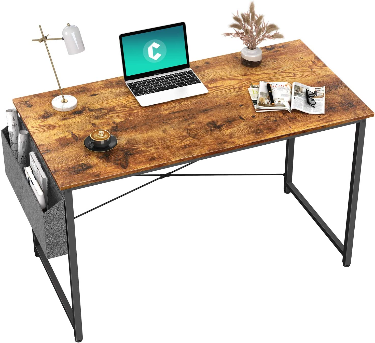 """Cubiker Writing Computer Desk 39"""" Home Office Study Desk, Modern Simple Style Laptop Table with Storage Bag, Rustic"""