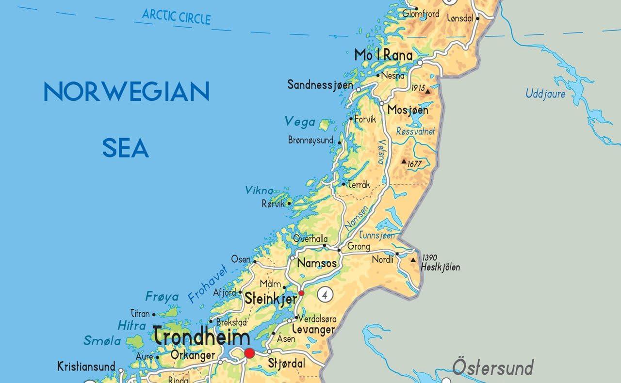 Cartina Geografica Norvegia Fisica.Norvegia Mappa Fisica Carta Plastificata Ga A2 Size 42 X 59 4 Cm Clear Amazon It Cancelleria E Prodotti Per Ufficio