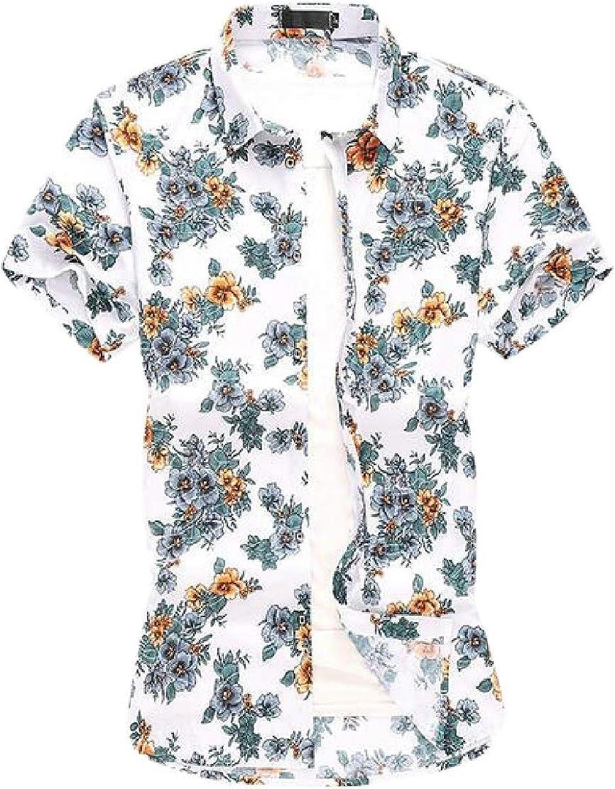 C.Zhaxidele Men Casual Hawaiian Shirts Floral Summer Button-Down Shirts
