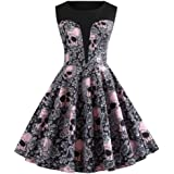 Qootent New Women's Halloween A Line Vintage Dresses Hepburn Floral Party Dress