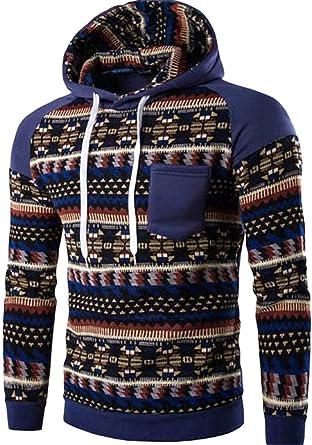 Men's Long Sleeves Fashion AZTEC Tribal Floral Hoodie Sweatshirt Pullover,  Navy, US S/