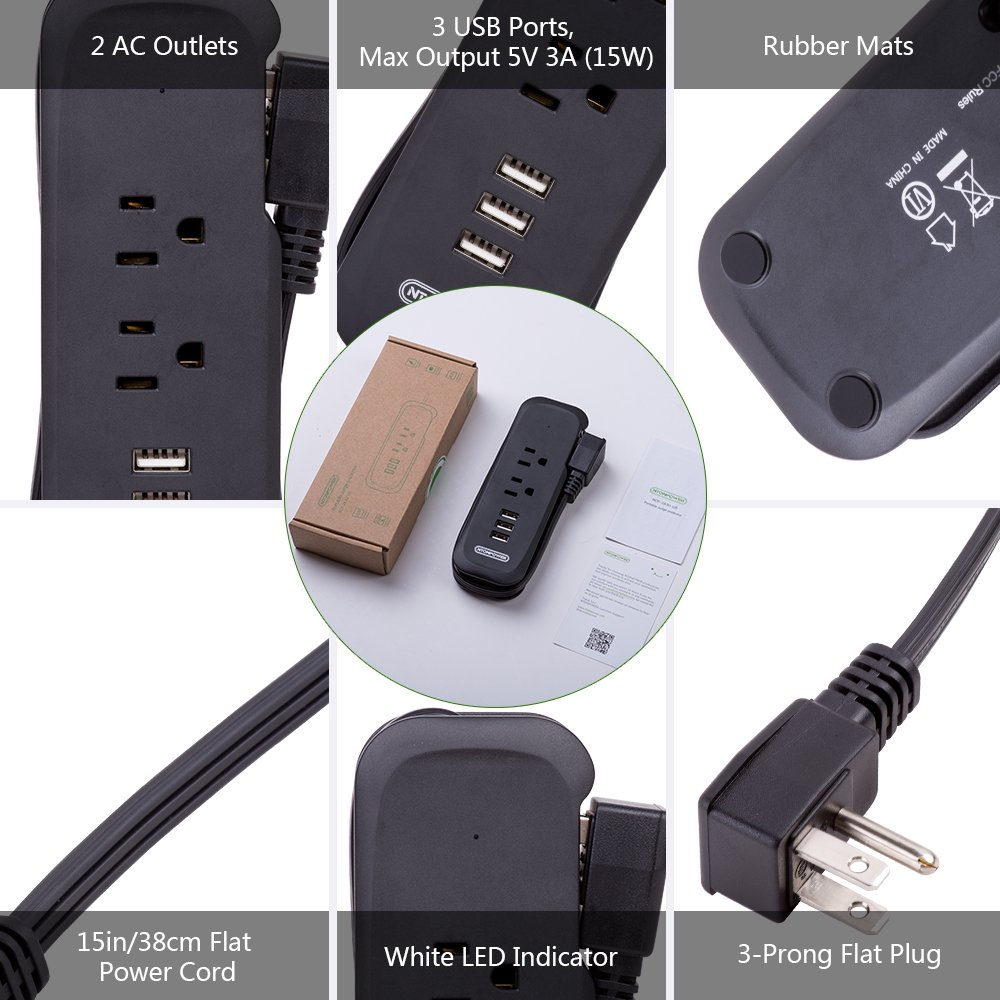 NTONPOWER 3-Port USB Power Strip with 2 Outlets Wrap Winder Design Mini Travel Charger with Right Angle Flat Plug and 15 inches Short Extension Cord for Nightstand Conference Center Library - Black by NTONPOWER (Image #4)