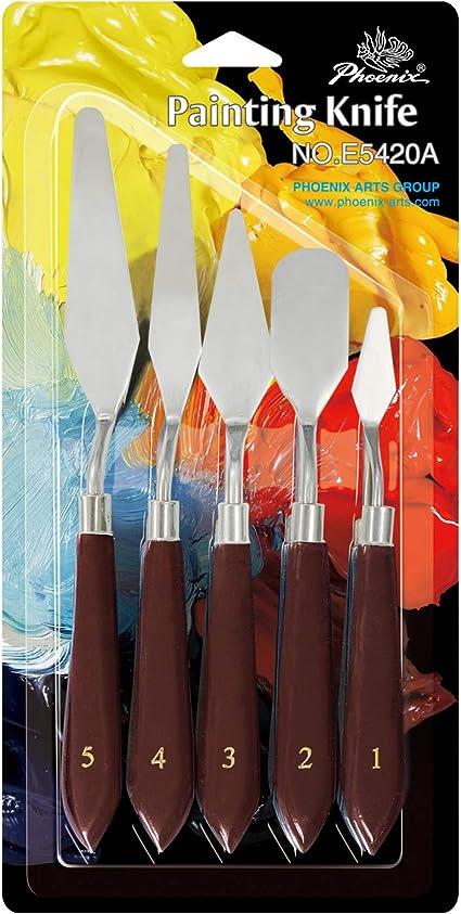 Madera Mango Acero Inoxidable Pintura /& Paleta Cuchillos Surtido Juego de 5