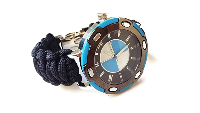 Mens Black Strap Sportive Paracord Wrist Watch Parachute Band