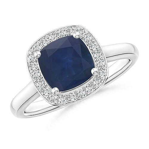 Amazon.com: Cojín azul zafiro anillo con diamante halo ...