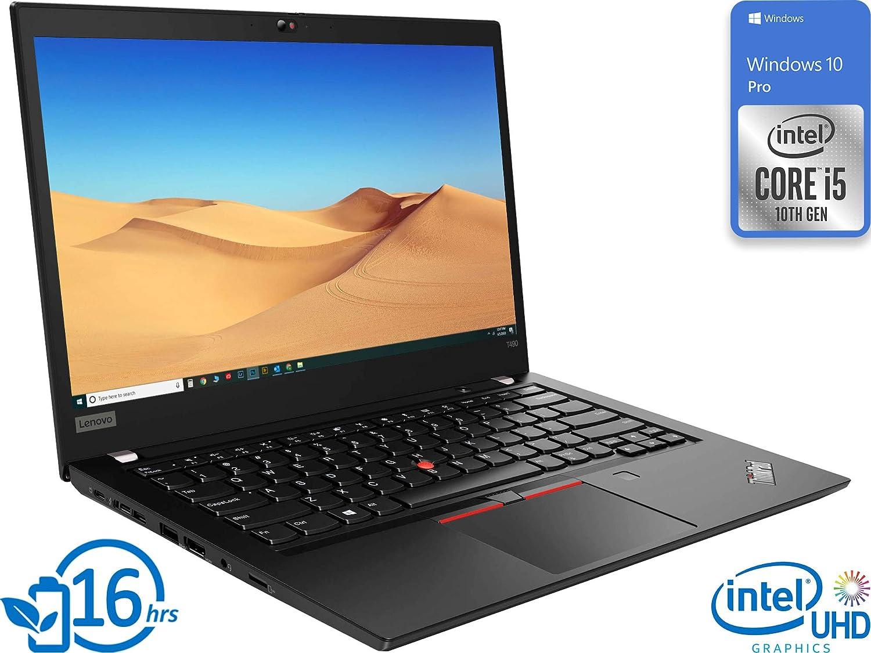 "Lenovo ThinkPad T490 (20RY0001US) Laptop, 14"" FHD Display, Intel Core i5-10210U Upto 4.2GHz, 8GB RAM, 256GB NVMe SSD, HDMI, Thunderbolt via USB-C, Card Reader, Wi-Fi, Bluetooth, Windows 10 Pro"