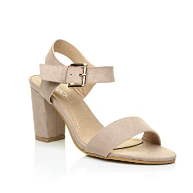 4223e622f6ee6 Carrie Nude Faux Suede High Block Heel Peep Toe Ankle Strap Party Sandals  Size UK 5