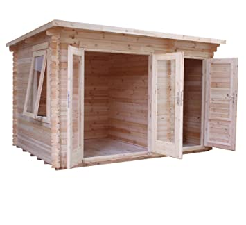 35m x 24m Carlton Wooden Log Cabin with Side Store Home Office