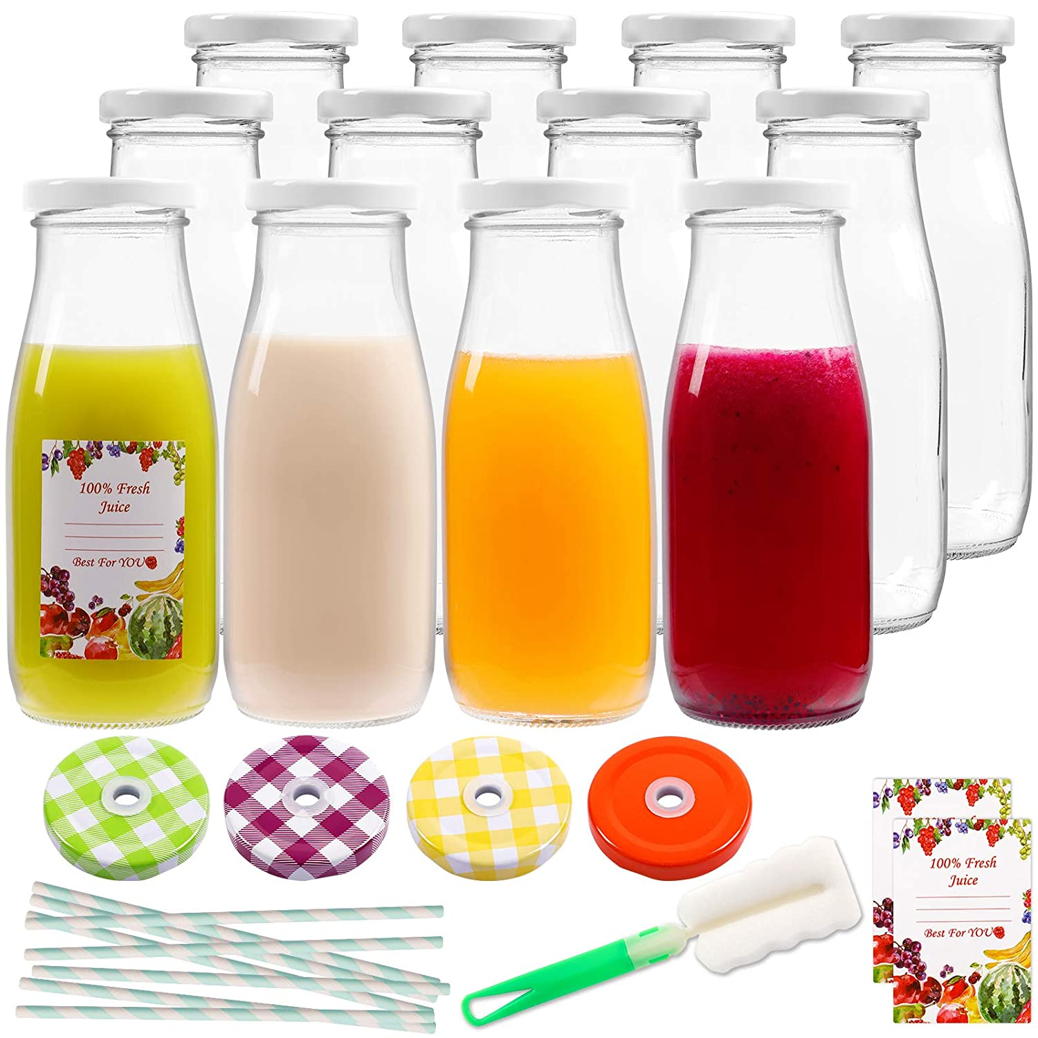 12oz 12pcs Empty Glass Bottles, Reusable Clear Glass Juice and Milk Bottles with Lids, Clear Containers for Juice, Milk and Other Beverages