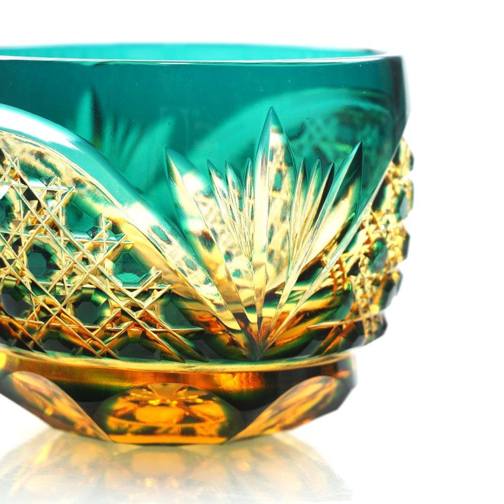 Crystal Sake Cup Edo Kiriko Guinomi Cut Glass Octagon Hakkaku-Kagome Pattern - Green x Amber [Japanese Crafts Sakura] by Japanese Crafts Sakura (Image #3)
