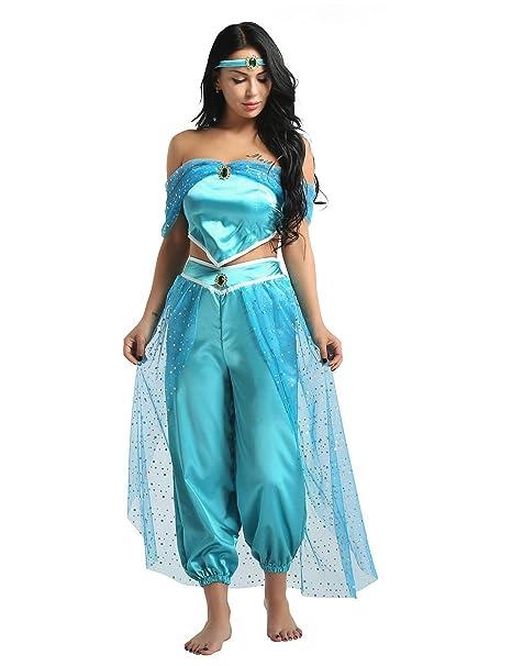MSemis Disfraz Princesa Árabe Jazmín para Mujer Cosplay Lámpara Aladino Traje Princesa India Turquía Danza Oriental Disfraces Navidad Día Reyes ...