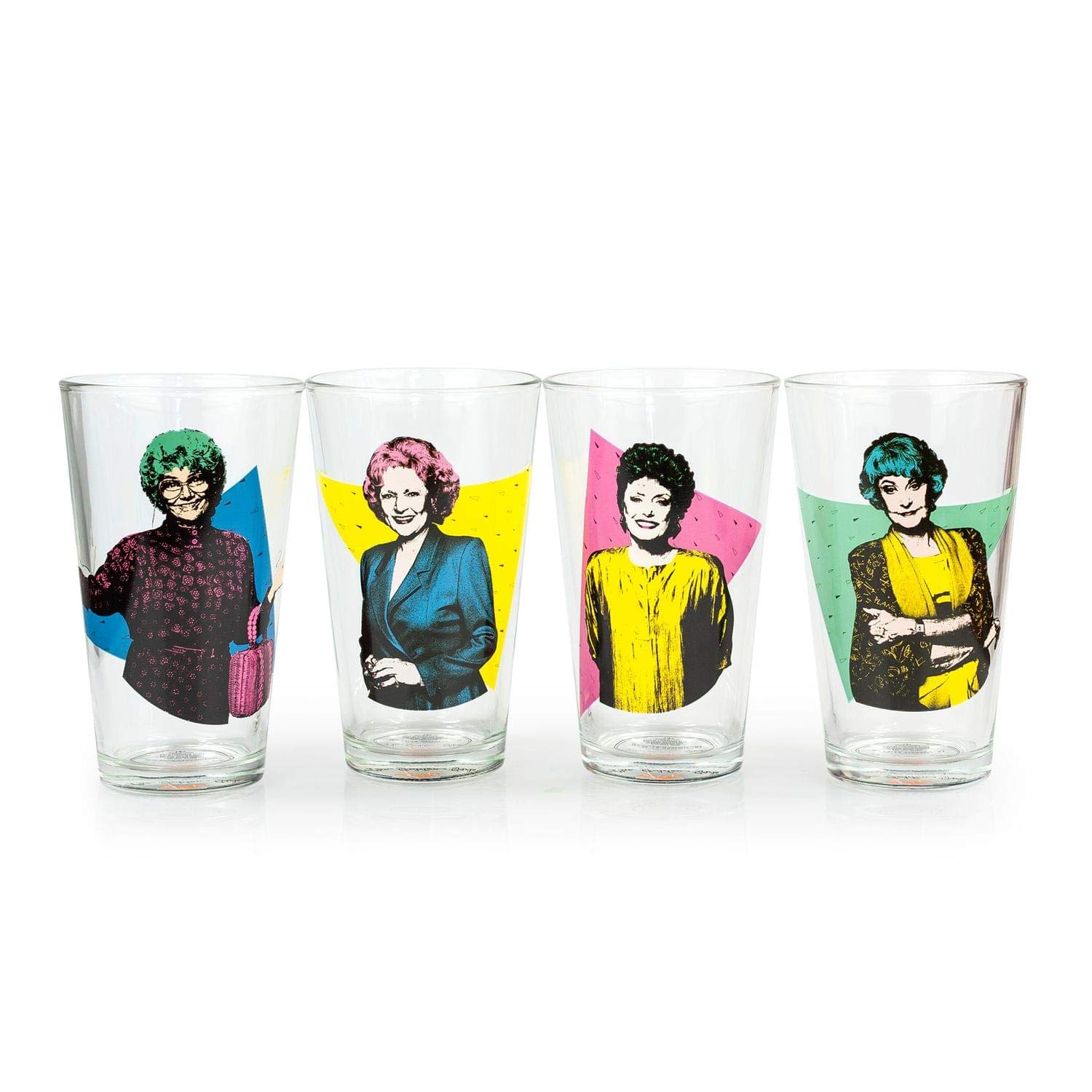 JUST FUNKY The Golden Girls Collectibles | Golden Girls Pint Glasses Set of 4 | 16 oz