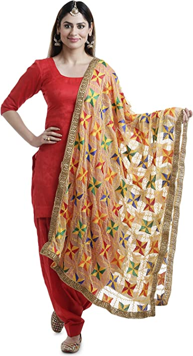 Amazon.com: PinkPhulkari California Indian Pakha Phulkari Dupatta ...
