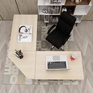 DlandHome L-Shaped Computer Desk 59 inches x 59 inches, Composite Wood and Metal, Home Office PC Laptop Study Workstation Corner Table with CPU Stand, ZJ02-OW Oak and White Legs, 1 Pack