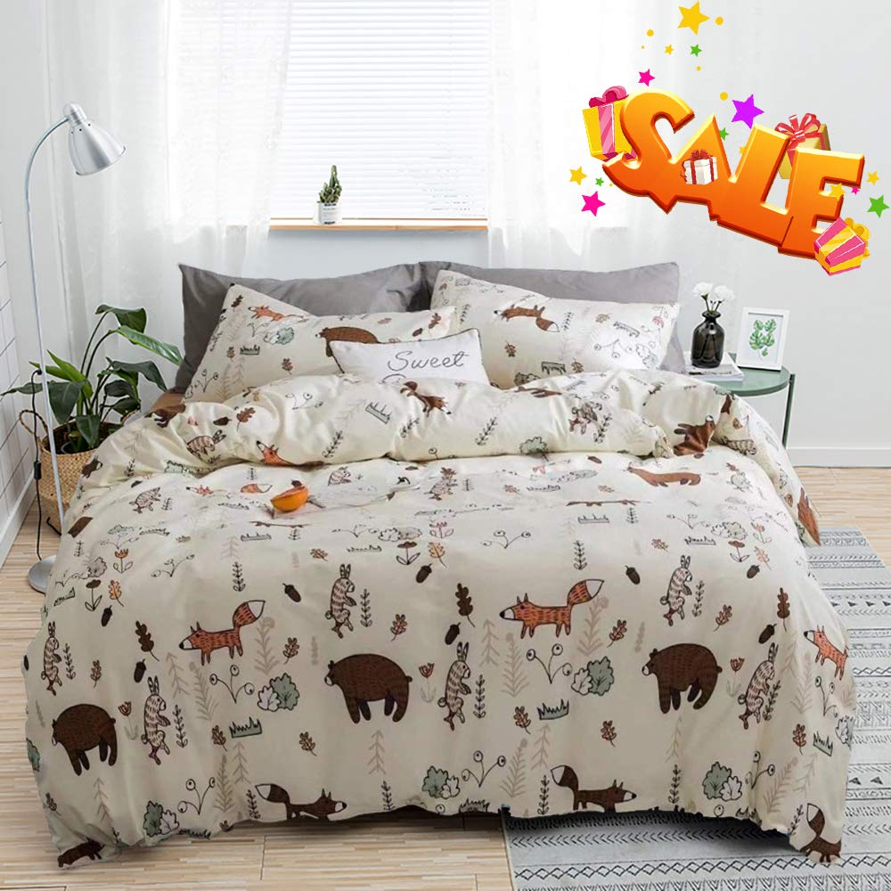 karever Yellow Bear Bedding Set Fox Rabbit Forest Duvet Cover Sets Kid Boys Tree Queen Size Sets Girls Baby Cotton Reversible Soft Durable and Lightweight 3 PCS Zipper Closure 2 Envelope Pillowcases