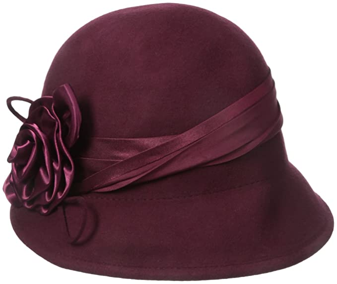Simple 1920s Hat Decorating with Ribbon Sakkas Marilyn Vintage Style Wool Cloche Bucket Winter Hat with Satin Flower $24.99 AT vintagedancer.com