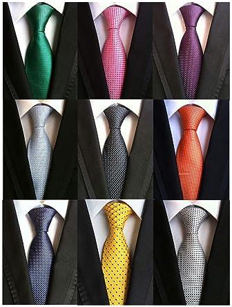 611f52495ade Welen Lot 9 PCS Classic Men's Tie Necktie Woven JACQUARD Neck Ties (Style  ...