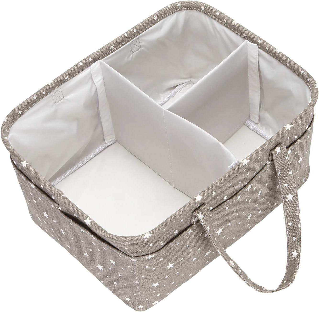 Hinwo Panier /à couches pour b/éb/é 3 compartiments avec s/éparateur amovible et 19 poches invisibles pour couches et lingettes
