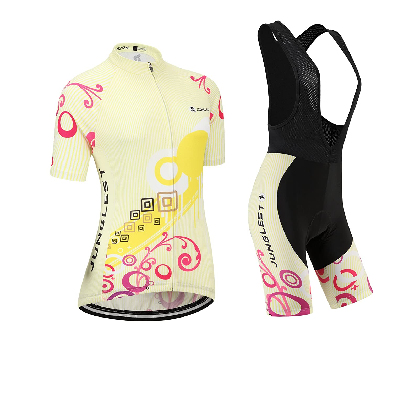 Cycling Jersey Setレディース半袖(S ~ 5 X L、オプション:よだれかけ、3dパッド) n204 B01BX34WJ2  種類: セット(ブラック前掛け) (General pad)(Bust 43-45inchs)