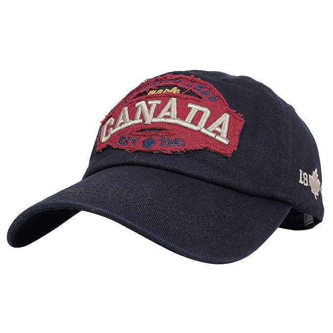 WITHMOONS Gorras de béisbol Gorra de Trucker Sombrero de Cotton Baseball Cap Canada Maple Vintage Embroidery