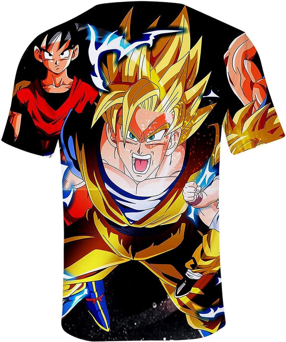 HAOSHENG Unisexe T-Shirt /à Manches Courtes Dragon Ball Animation Japonaise Super Wukong 3D Shirt Goku