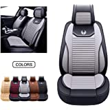 OASIS AUTO Leather&Fabric Car Seat Covers, Faux Leatherette Automotive Vehicle Cushion Cover for Cars SUV Pick-up Truck…