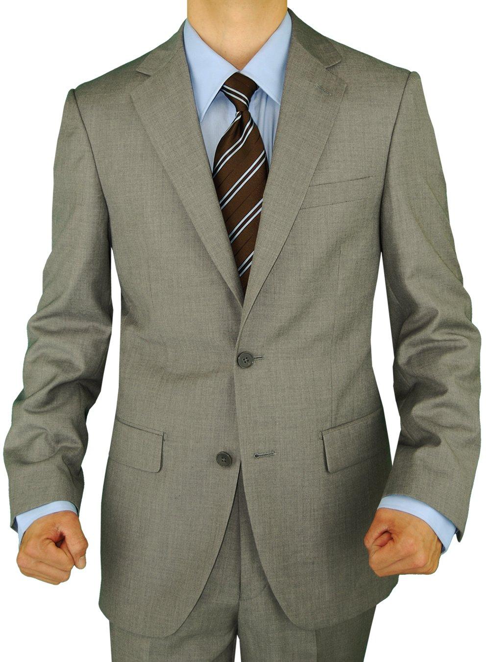 GN GIORGIO NAPOLI Presidential Men's 2 Button Suit Separate Coat Blazer (42 Short US, Light Gray)