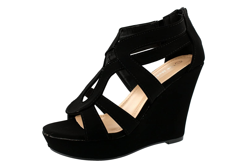Top Moda Womens Lindy-66 Open Toe Platform Wedge Sandals B00ENPTWTI 7.5 B(M) US|Black