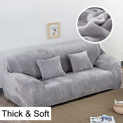 Thick Sofa Covers 1/2/3/4 Seater Pure Color Sofa Protector Velvet ...