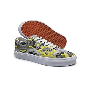230e68fe166d3 Ouxioaz Womens Tennis Shoe Laces Yellow Grey Camo Canvas Tennis Shoes