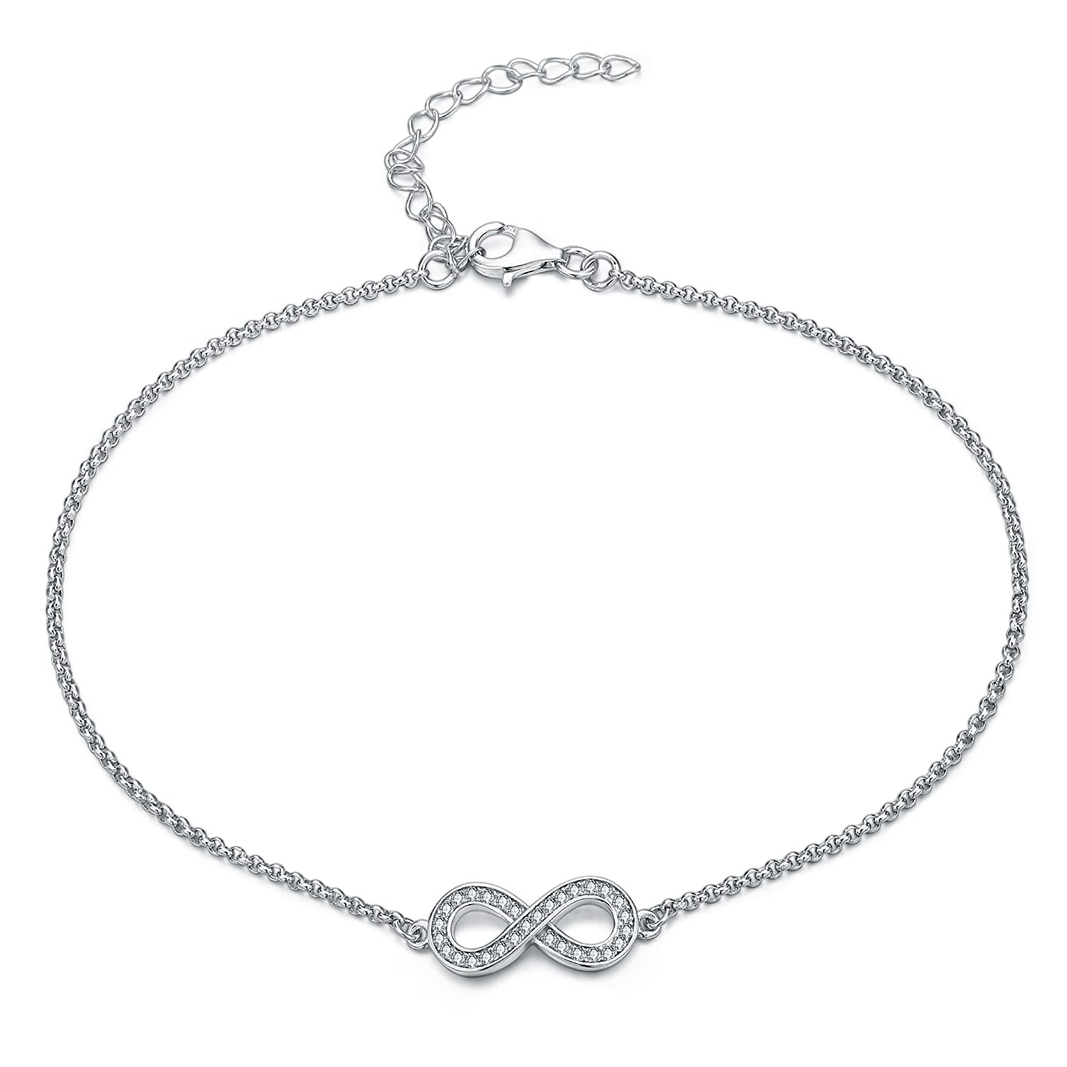 Gorgeous elegant INFINITY/Bow ANKLET with DIAMANTES, STERLING SILVER Ankle bracelet will include pretty gift box Sreema London SFJS97