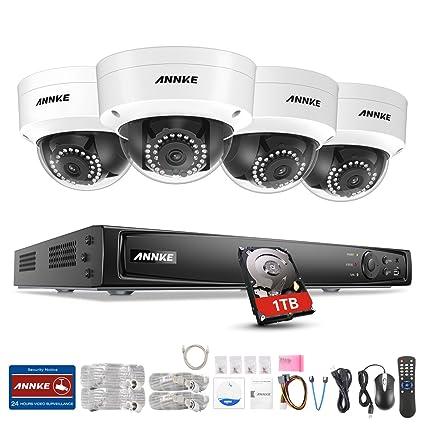 ANNKE 1080P 4CH POE NVR Vigilancia Sistema con 4x 2.0MP Interiores / Exteriores Fijo Seguridad
