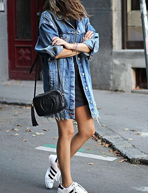 Ripped long denim jacket for women | Vamp your wardrobe with distressed denim jacket for a casual fall look