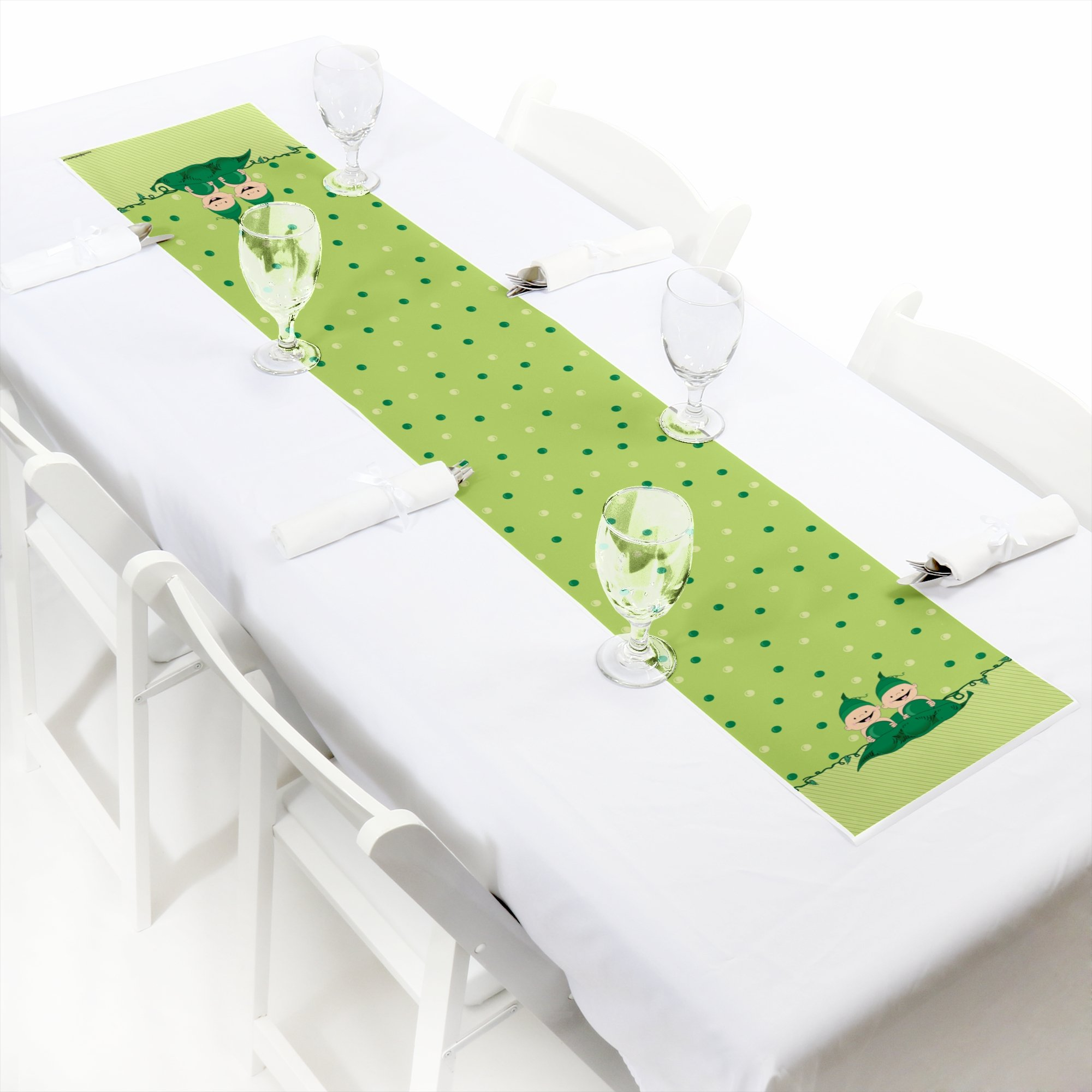 Big Dot of Happiness Twins Two Peas in a Pod - Petite Baby Shower or Birthday Party Paper Table Runner - 12 x 60 inches by Big Dot of Happiness