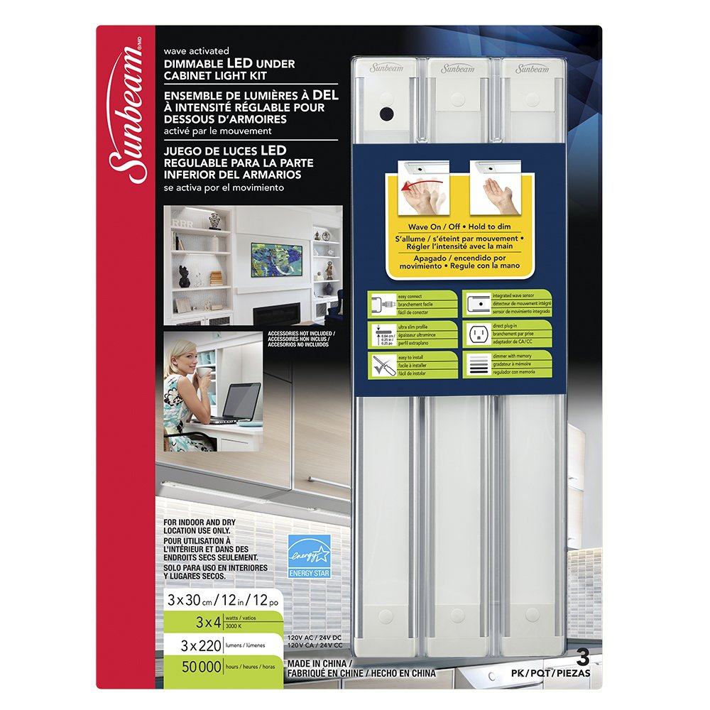 Sunbeam 30810554 12 inch Dimmable Ultra Slim LED Cabinet Light, 3 Pack, Wave Activated. Easy to Install. Plug in. Energy Saving.