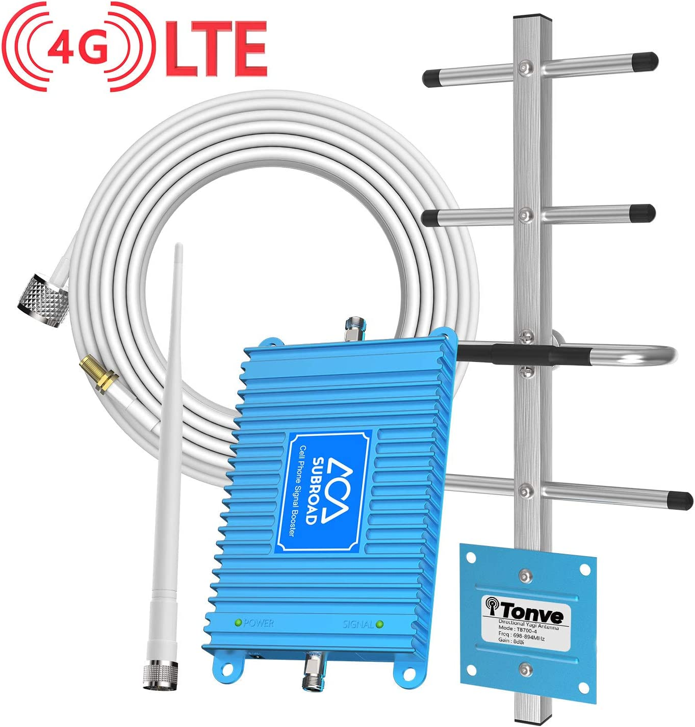 Verizon Cell Phone Signal Booster 4G LTE Subroad Cell Signal Booster Verizon Cell Phone Signal Amplifier//Mobile Phone Signal Booster 700Mhz Band13 Repeater FDD with Whip+Yagi Antenna kit for Home