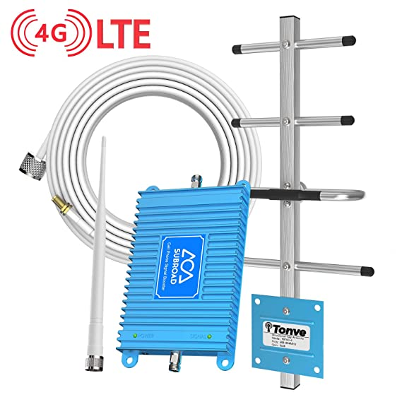 Subroad Cell Phone Signal Booster for Home Office Verizon ATT T-Mobile  Band12/13/17 Dual Band 4G LTE Cellular Repeater/High Gain Amplifier Kit Up  to